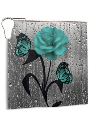 Alantbveeci Teal Gray Rose Flower Butterflies Shower Curtain Fabric Floral Bath Bathroom Curtain Wtih 12 Hooks, 72x72 in for Sale in Las Vegas, NV