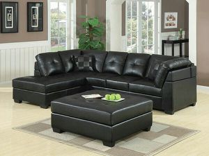 Darie black leather sectional sofa for Sale in Decatur, GA