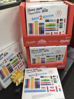 NEW 37 count back 2 school sharpie expo paper mate Elmer's glue pencil high lighter dry erase marker ruler school kit home study for Sale in El Monte, CA