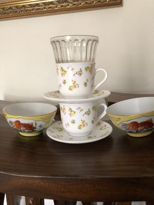 Set of 7-Koi Fish Bowls/Johnny Jump Up Teacups/Ramikin for Sale in New Britain, PA