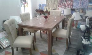 Dining Table Solid Wood, 4 Modern Tufted Chairs Like New for Sale in Industry, CA