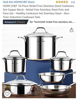 10 piece Stainless Steel Copper Band Cookware Set for Sale in Eastvale, CA