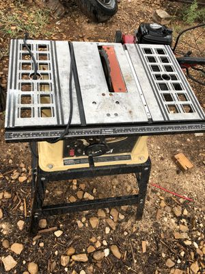 Table saw, river rock, trailer jack, handmade rustic wall art, trailer for Sale in Abilene, TX