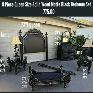 9 Piece Queen Size Solid Wood Matte Black Bedroom Set for Sale in St. Cloud, FL