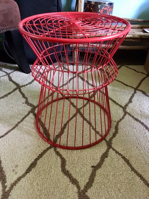 Red wire side table/plant stand for Sale in Pepperell, MA