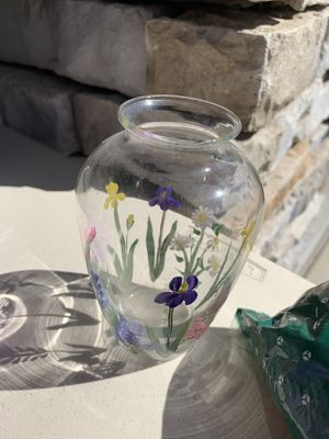 Glass vase with hand painted flowers for Sale in Chula Vista, CA