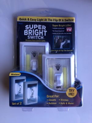 Super Bright Switch. Discounted Price. Now 8$Wireless. Set of 2. Great for Closets, Outdoor, Kitchen, Auto & More. Super bright Leds. for Sale in Burbank, CA