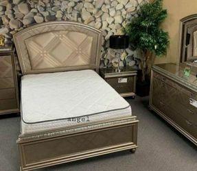 🎁BRAND NEW 🎗Cristal Gold LED Panel Bedroom Set 133 for Sale in Laurel,  MD