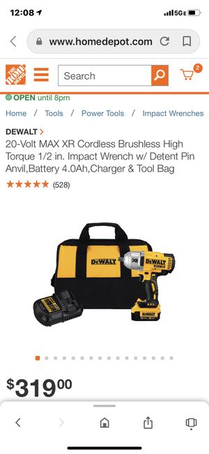 DEWALT 20-Volt MAX XR Cordless Brushless High Torque 1/2 in. Impact Wrench w/ Detent Pin Anvil,Battery 4.0Ah,Charger & Tool bag. DCF899M1 for Sale in Eldersburg, MD