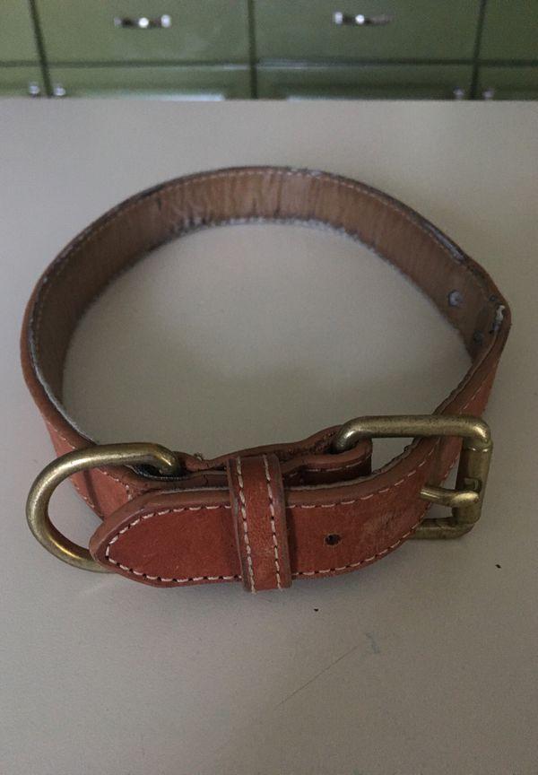 Leather dog collar —large