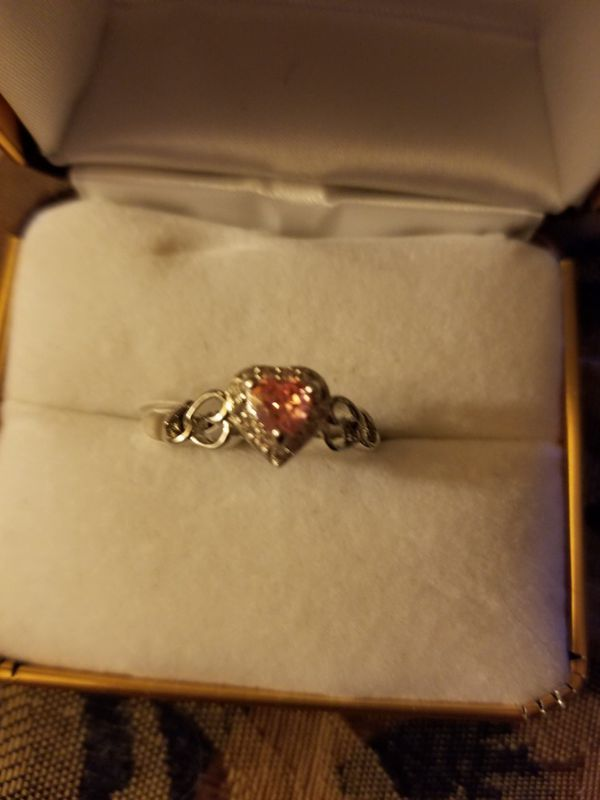 925 Sterling Silver Pink stone in Heart shaped