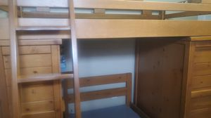 Solid Light Wood Bunk Bed with Built in Desk and Dresser for Sale in Palm Bay, FL