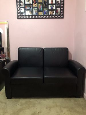 Black Faux Leather Futon for Sale in Shelby, NC