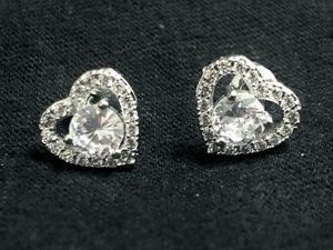 Sterling Silver CZ Heart Earrings for Sale in Las Vegas, NV