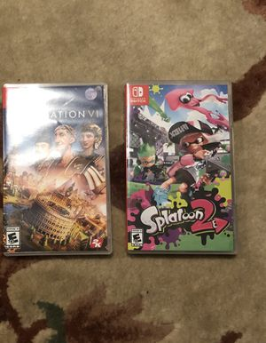 Switch Physical Games: Splatoon2 Civilization VI for Sale in San Francisco, CA