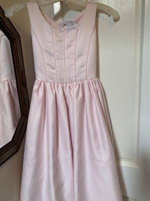 Little girls light pink formal satin type long dress size 9-10 for Sale in Orange, CA