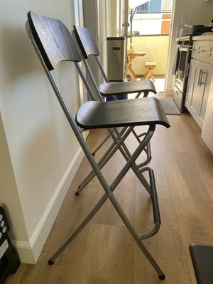 Pair of Black and matted silver wood and metal Bar Folding Stools Chairs for Sale in Anaheim, CA
