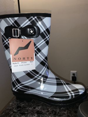 Norty size 11 black and white plaid rain boots. for Sale in Euless, TX