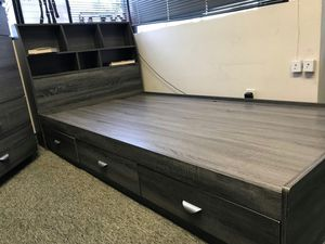FULL SIZE Storage Bed Frame with Bookcase Headboard for Sale in Fountain Valley, CA