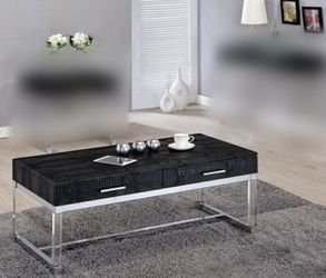 Modern Coffee Table In Black Faux Cr oco dile Leather for Sale in Ontario,  CA