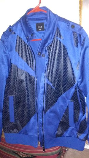 $30/Sz lg. Blue cloth jacket with black patch leather overlook for Sale in Lexington, KY