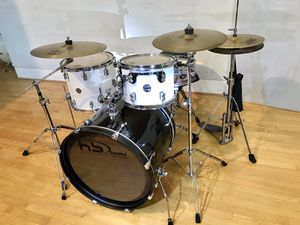 "PDP concept maple 12"" & 16"" white toms drum set 22"" carbon fiber rewear 13"" PDP steel piccolo snare Paiste cymbals stands throne pearl pedal sticks k for Sale in Ontario, CA"