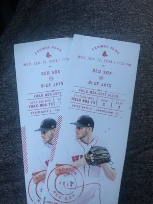 Sox game 9/12/18 for Sale in Boston, MA