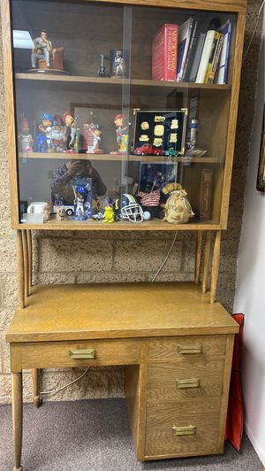 Antique custom made desk/china cabinet. 1950's for Sale in Riverside, CA