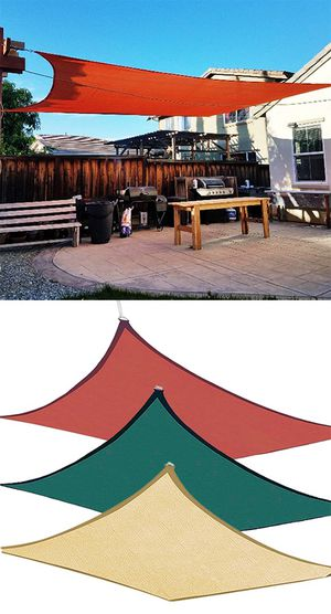 Brand New $50 each 18x18' Square Sun Shade Sail Outdoor Top Cover (Tan, Red or Green) for Sale in South El Monte, CA