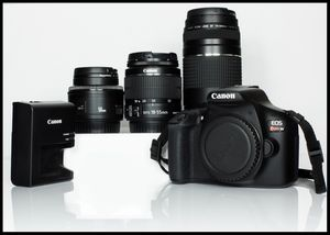 Canon DSLR T6 and Lens 50mm, 18-55mm and 75-300mm for Sale in Silver Spring, MD