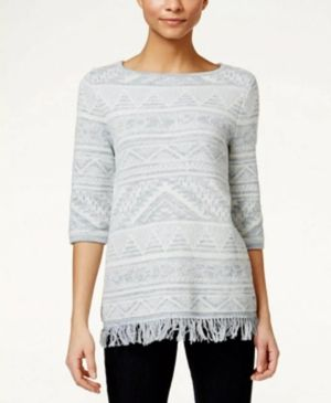 New Women's Style &Co. Aztec White/Blue Fringe Sweater Sz M for Sale in Monroeville, PA