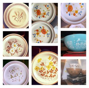 Stoneware plates and vintage Pyrex bowls..... for Sale in Highland, CA