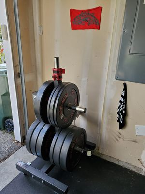 Ethos olympic bumper plates and storage for Sale in Tacoma, WA