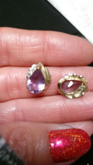 10k yellow gold diamond and amethyst earrings and pendant for Sale in Virginia Beach, VA