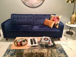Beautiful Blue Velvet Convertible Sofa for Sale in Washington, DC