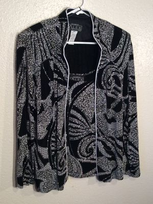 Brand New Set of 2 Black Silver Lurex Women's ALEX EVENINGS Long Sleeve Zip-up Blazer Tunic with Sleeveless Top in package - Size XL- L for Sale in Austin, TX