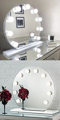 "(NEW) $170 Round 28"" Vanity Mirror w/ 10 Dimmable LED Light Bulbs, Hollywood Beauty Makeup USB Outlet for Sale in Whittier, CA"