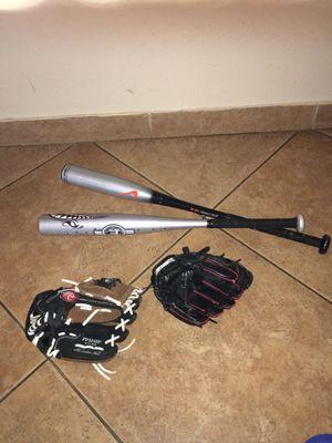 Baseball gloves & bat for Sale in Glendale, AZ
