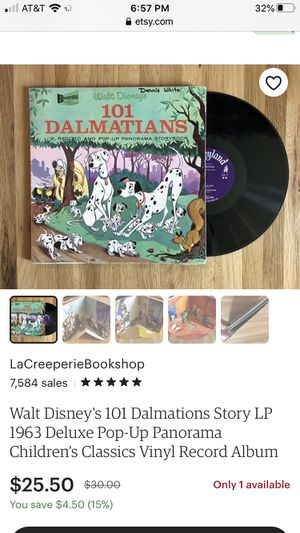 Walt Disney's 101 Dalmations Story LP 1963 Deluxe Pop-Up Panorama Children's Classics Vinyl Record Album for Sale in Willowbrook, IL