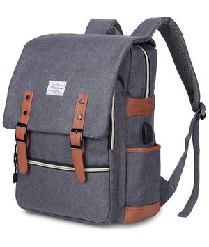 Vintage Laptop Backpack for Women Men,School College Backpack with USB Charging Port Fashion Backpack Fits 15 inch Notebook (Grey) for Sale in Irvine, CA