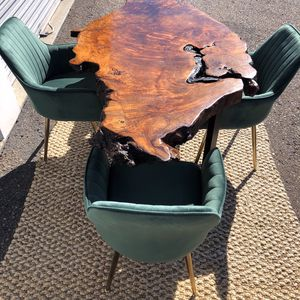 Solid Burl wood Live Edge dining table with steel legs ( NO CHAIRS) for Sale in San Diego, CA