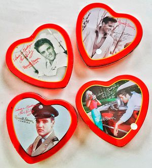 Elvis Presley russel stover EMPTY heart shaped Valentines Day gift tins FROM early 2,000's x 4 for Sale in Saginaw, MI