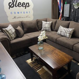 Chocolate Excel U Shaped Sectional Reversible Custom Couch , Custom Cushioned Pillows & Comfort Seats for Sale in Los Angeles, CA