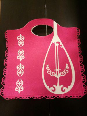 Traditional Kazakhstan Handmade Pink Bag w Dombra (Kazakhstan Tradional Instrument) for Sale in Tempe, AZ