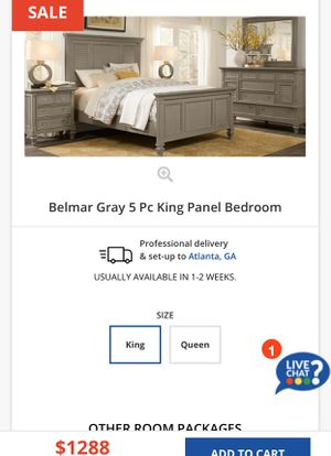 Gray 7 Piece King Bedroom Set (Gently Used) for Sale in Fayetteville, GA