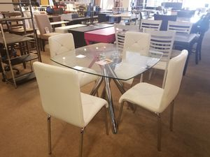 Square Glass Dining Table with four chairs for Sale in Glendale, AZ