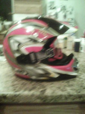 Helmet is HJC and is DOT approved the helmet is red not pink sorry lol is size large in very good condition for Sale in Minocqua, WI