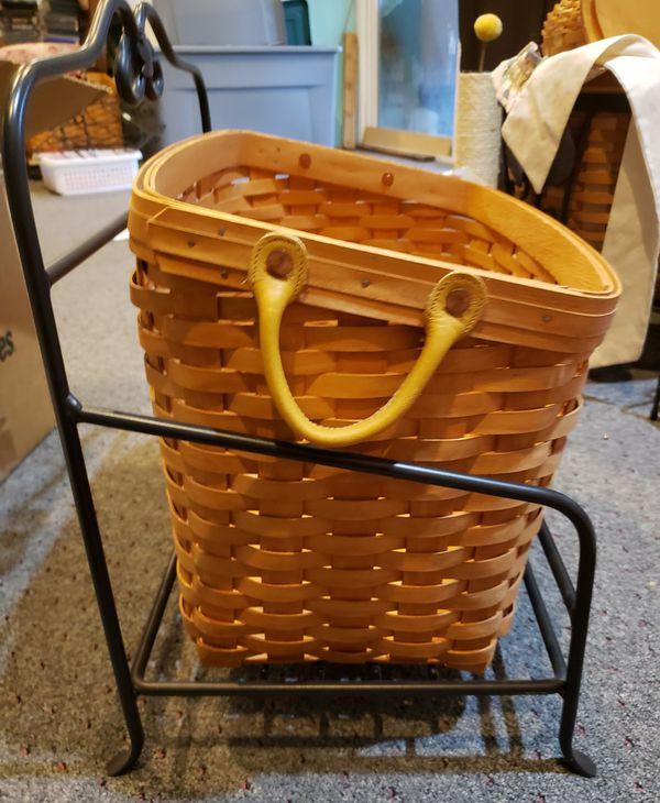 Longaberger wrought iron newspaper / magazine stand and basket