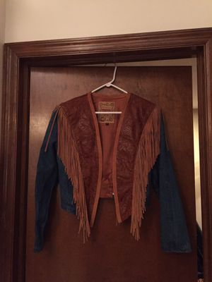 Denim, leather, fringe jacket for Sale in Columbus, OH