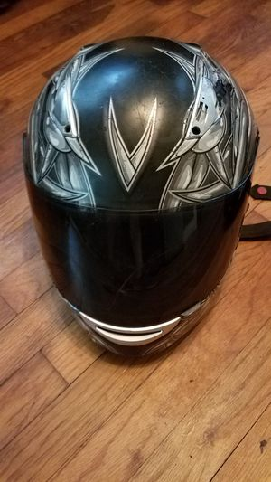 Barb Wire Motorcycle Helmet with Visor - Black and White Barbwire Graphics for Sale in West Columbia, SC